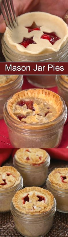Adorable mini mason jar pies that are easy to make. Give as gifts.