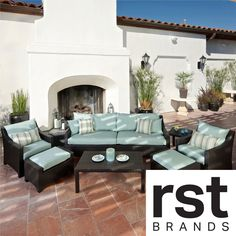 RST Outdoor Bliss 8-Piece Sofa, Club Chair and Ottomans Patio Furniture Set | Overstock.com Shopping - Big Discounts on RST Brands Sofas, Ch...