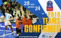 28 teams confirmed for the 2016 CEV Champions League Volleybal NOLIKO Maaseik received a wild card !