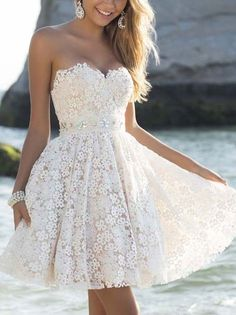 White Graduation Dresses Bandeau Lace Crochet Hollow Bridesmaid Summer Short Dress - WSDear.com
