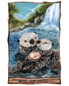 Otters Art Print Tarot Card - Ace of Cups by rainbowofcrazy on Etsy