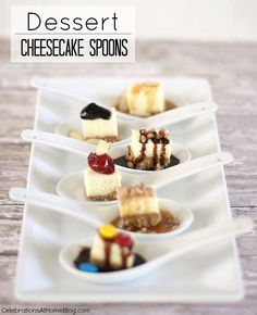 Serve these mini cheesecake bites when entertaining a a small crowd. Toppings can be customized for individual tastes.