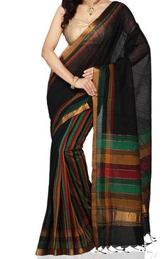 Black Color Mangalagiri Cotton Saree by UppadaPattu on Etsy