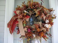 Primitive~ Fall~ Door~Wall Wreath~ Acorns~Mesh~Pip Berries~Fall Leaves~Large Bow