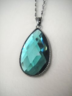 bold teal crystal necklace