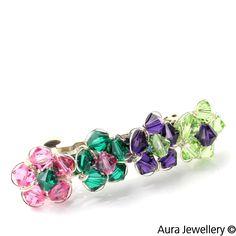 Pink Green Handcrafted Swarovski Crystal Floral Hair Barrette Slide
