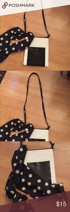 Calvin Klein Black & White Crossbody Purse w Scarf NWT Calvin Klein Black & White Crossbody Purse with Black & White Polka dotted scarf to wear for career look. Long handle for extra comfortable wear. Calvin Klein Bags Crossbody Bags