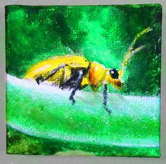 Yellow bug acrylic painting