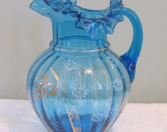 LATE VICTORIAN ANTIQUE Blue Ruffled Art Glass Pitcher