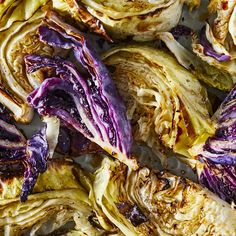 vegetable recipes These roasted cabbage wedges with honey and balsamic vinegar make an attractive and healthy side dish thats also very easy to prepare. You can use red or green cabbage--or make a double batch with one of each for a pretty presentation. Roasted Cabbage Recipes, Roasted Cabbage Wedges, Red Cabbage Recipes, Roasted Vegetable Recipes, Roasted Vegetables, Healthy Vegetables, Cabbage Ideas, Healthy Vegetable Recipes, Healthy Chicken