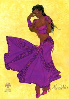 Female Marketplace costume rendering by Gregg Barnes. Disney's Aladdin on Broadway. Interview with Costume Designer Gregg Barnes - Tyranny of Style