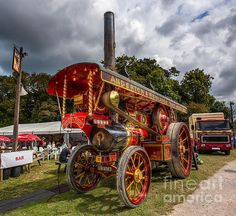 The Lion a 1932 showmans steam tractor UB9763. This example is a working steam tractor used at fairgrounds to provide electrical power from a 3 phase belt driven generator to power fairground rides.