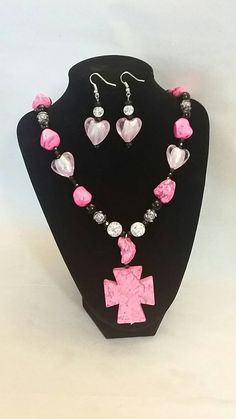 Pink Stone Cross Necklace and Matching Earrings  https://www.etsy.com/listing/236895649/pink-stone-cross-necklace-and-matching