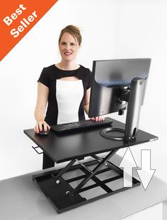 X-ELITE PRO Height Adjustable Sit / Stand Desk - Converts your Existing Desk or Cube into a Standing Desk! (Black)
