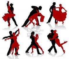 Silhouettes des paires de danse des danses de la salle de bal. De Tango, étape. Banque d'images - 8724960