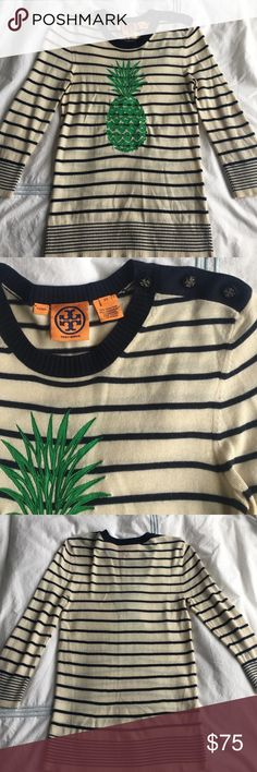 Tory Burch cream and navy sweater with pineapple So incredibly adorable!! Perfect with jeans and booties. Great Tory Burch button detail on the shoulder. EUC. 70% silk, 30% cashmere. 26 inches long. 17 inches armpit to armpit. Has some stretch. Tory Burch Sweaters Crew & Scoop Necks