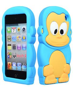 SOFT SILICONE RUBBER GUMMY CASE COVER TEAL BLUE BABY MONKEY iPod Touch 4th Gen