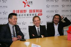 chen dongliang, executive chairman ofchina RED STAR DESIGN AWARD committee; massimo mini, designboom CEO; jeff dayu shi, founder of dragon fly design center during a press briefing of the RED STAR DESIGN AWARD 2013