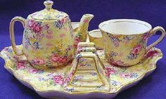 Royal Winton Welback chintz breakfast set- individual teapot, tea cup, creamer, egg cup, toast rack and plate.
