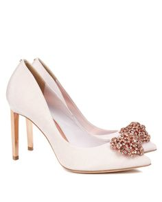 Brooch detail court shoe - Nude Pink | Footwear | Ted Baker UK