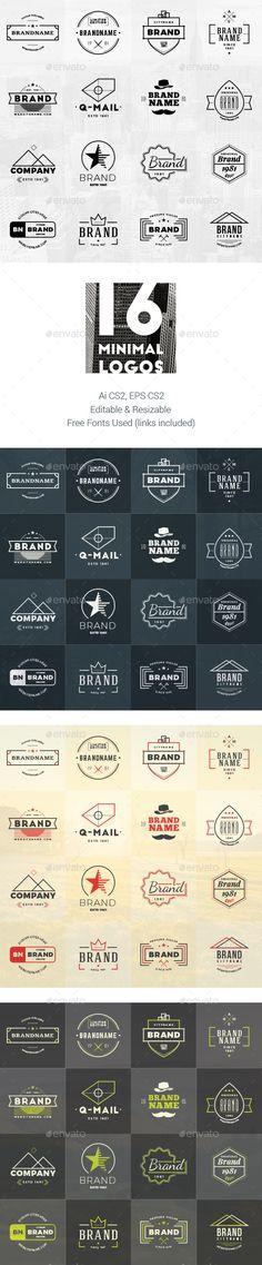Set of 16 Minimal Logos #design Download: http://graphicriver.net/item/set-of-16-minimal-logos/12362627?ref=ksioks