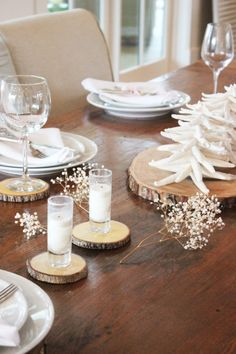 NEW YEARS EVE rustic tablesetting - simple sweet and neutral in color.