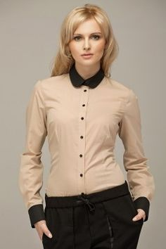 Hot looking-Beige Vintage Blouse With Black Round Collar And Cuffs Mens Designer Brands, Beige, Collar Blouse, Blouse Vintage, Online Fashion Stores, Collar And Cuff, Black Trim, Office Outfits, Blouses For Women