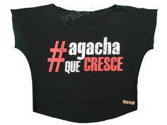 Blusas Femininas | Blusa Cropped Agacha Que Cresce Preta  Acesse: http://www.spbolsas.com.br/atacado/ #Regatas #Femininas #Atacado