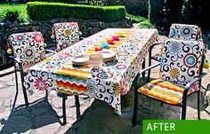 Outdoor Chair Cushions with Poms: It's Waverly Week!   Sew4Home