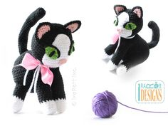 Yin and Yang Siamese or Tuxedo Kitties Amigurumi Toy PDF Crochet Pattern by IraRott Inc.