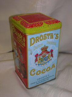 "Droste's Cocoa Tin ONLY Haarlem Holland 6 3/8"" Dutch Girl & Boy #DrostesCocoa"