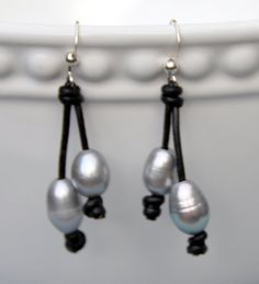 Gray Pearl and Leather Earrings/Freshwater Pearl by BonafideBeads