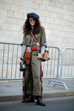 Everyone In Paris Is Wearing A Leather Beret #refinery29 http://www.refinery29.com/2017/09/174062/paris-fashion-week-street-style-spring-2018#slide-54