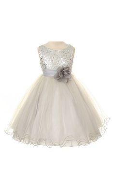 cdf8b9d8397 Sequin Bodice Flower Girl Special Occasion Dress Infant Toddler Little Girl