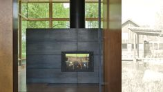 EHA Family Trust Residence Steel Fireplace by Ward + Blake Architects, Jackson, WY