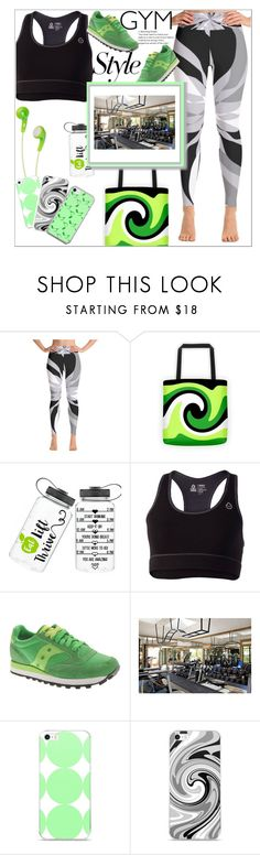 """Gym Essentials"" by atelier-briella ❤ liked on Polyvore featuring Tasc Performance, Saucony, JVC and Music Notes"