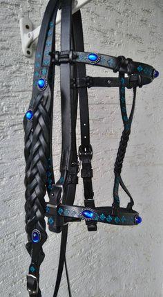 Showtrense Mittelalterzaum geflochten royal blau schwarz, punziert