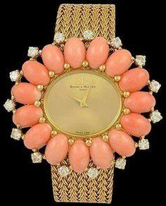 Baume & Mercier diamond and coral watch - Yafa Jewelry Coral Jewelry, High Jewelry, Bling Jewelry, Vintage Jewelry, Dior, Chanel, Art Deco Watch, Gold Diamond Watches, Cartier