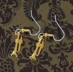 Trumpet Earrings Small 24 Karat Gold Plate Horn Band Symphony Orchestra EG490 by NostalgicCharm on Etsy