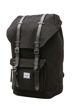 919511c3dd Just ordered this Herschel Little America Backpack in Black Black Leather.