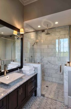 Modern Farmhouse, Rustic Modern, Classic, light and airy master bathroom design tips. Bathroom makeover ideas and master bathroom remodel suggestions. Best Bathroom Tiles, Bathroom Tile Designs, Bathroom Layout, Bathroom Interior Design, Bathroom Faucets, Bathroom Mirrors, Bathroom Cabinets, Tile Layout, Shower Tiles
