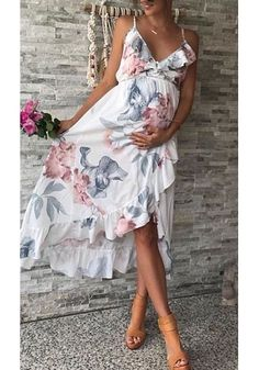 Shop Maternity Irregular Ruffle Hem Cami Dress online with high quality and hurr. - Shop Maternity Irregular Ruffle Hem Cami Dress online with high quality and hurr. Maternity Dresses For Baby Shower, Maternity Dresses Summer, Cute Maternity Outfits, Pregnancy Outfits, Vacation Dresses, Maternity Fashion, Summer Dresses, Summer Baby Shower Dress, Maternity Clothing