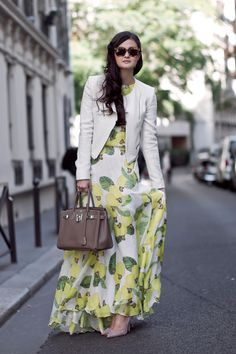 gorgeous maxi layered under a fitted fresh blazer, polished up with sleek pointy pumps...PERFECTION!