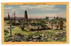 Boothill Graveyard Tombstone Arizona vintage linen postcard unused