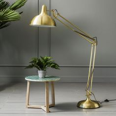 Oversized Brass Angle Floor Light