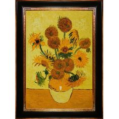 overstockArt Vase with Fifteen Sunflowers Oil Painting wi...