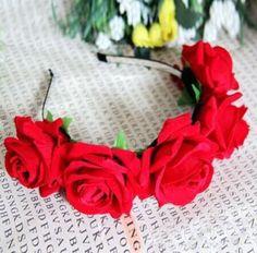 Womens Fashion Handmade Rose Headband Hair Wreaths Bride Floral Crown Flower Hair Garland Wedding Hair Accessories