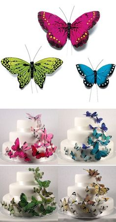 Beautiful Butterfly Cake Sets - 4 Colors from Wedding Favors Unlimited