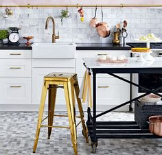 Transform an IKEA table base into a stylish free-standing island.