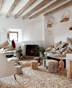 "Check out these natural home design ideas, courtesy of this stone house by Alexandre de Betak. Hidden away in a small village in Majorca, ""Cave House"" is Rustic Industrial Decor, Rustic Decor, Rustic Style, Rustic Chic, Modern Rustic, Rustic Wood, Rustic Backdrop, Rustic Design, Rustic Curtains"